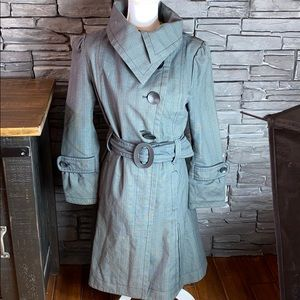 Soia & Kyo Grey Belted Trench Coat L
